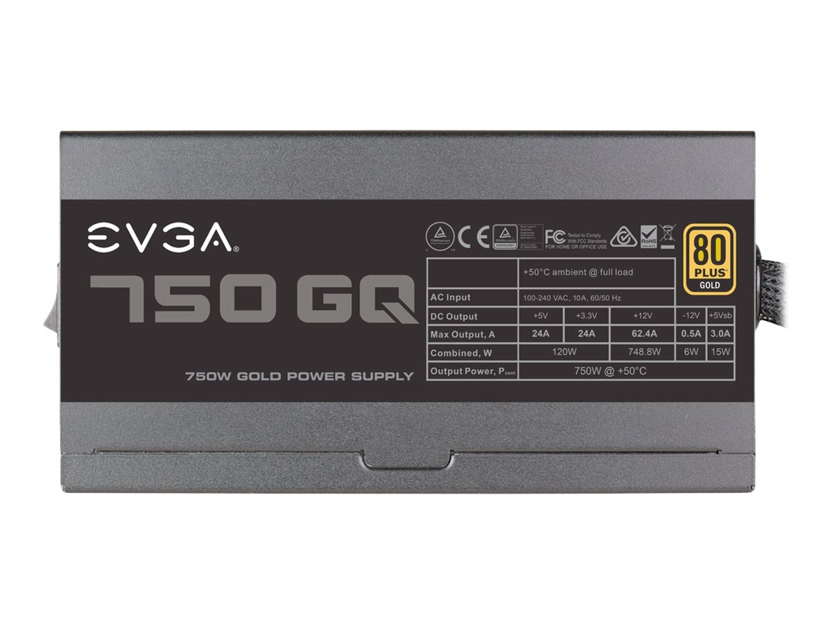 eVGA 750 GQ Power Supply, 210-GQ-0750-V1