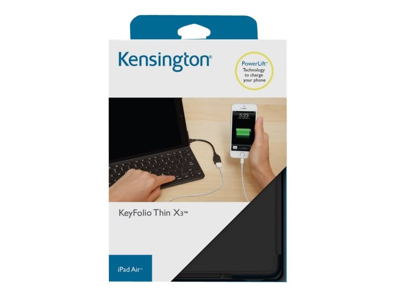 Kensington KeyFolio Thin X3 for iPad Air, Black, K97269US, 17601937, Keyboards & Keypads
