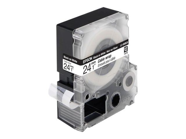 Epson 1 Black on White LabelWorks Cable Wrap LC Cartridge, LC-6WBC9, 31624060, Paper, Labels & Other Print Media