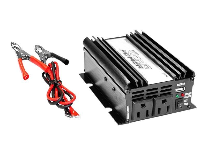 Pyle Plug-in Car 500 Watt 12VDC to 115 Volt AC Power Inverter w  Modified Sine Wave & 5 Volt USB Outlet, PINV55