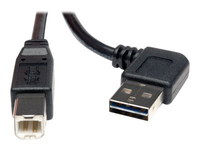 Tripp Lite Universal Reversible USB 2.0 Right Angle A-Male to B-Male Device Cable, 3ft, UR022-003-RA, 16176107, Cables