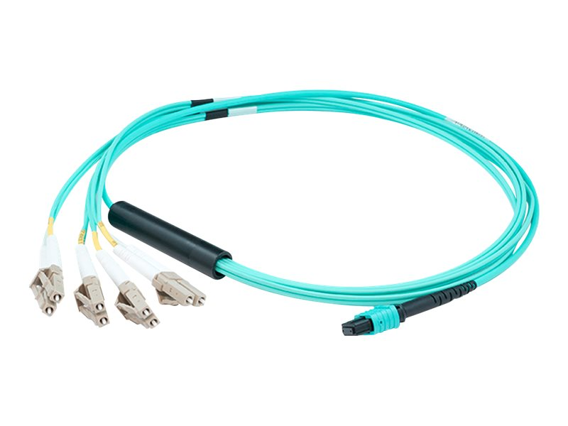 ACP-EP MPO to 4xLC Duplex Fanout OM3 LOMM Patch Cable, Aqua, 4m, ADD-MPO-4LC4M5OM3