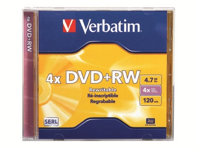 Verbatim DataLifePlus 4.7GB 4x Speed DVD+RW, 1 Pack In Jewel Case, 94520, 4897361, DVD Media