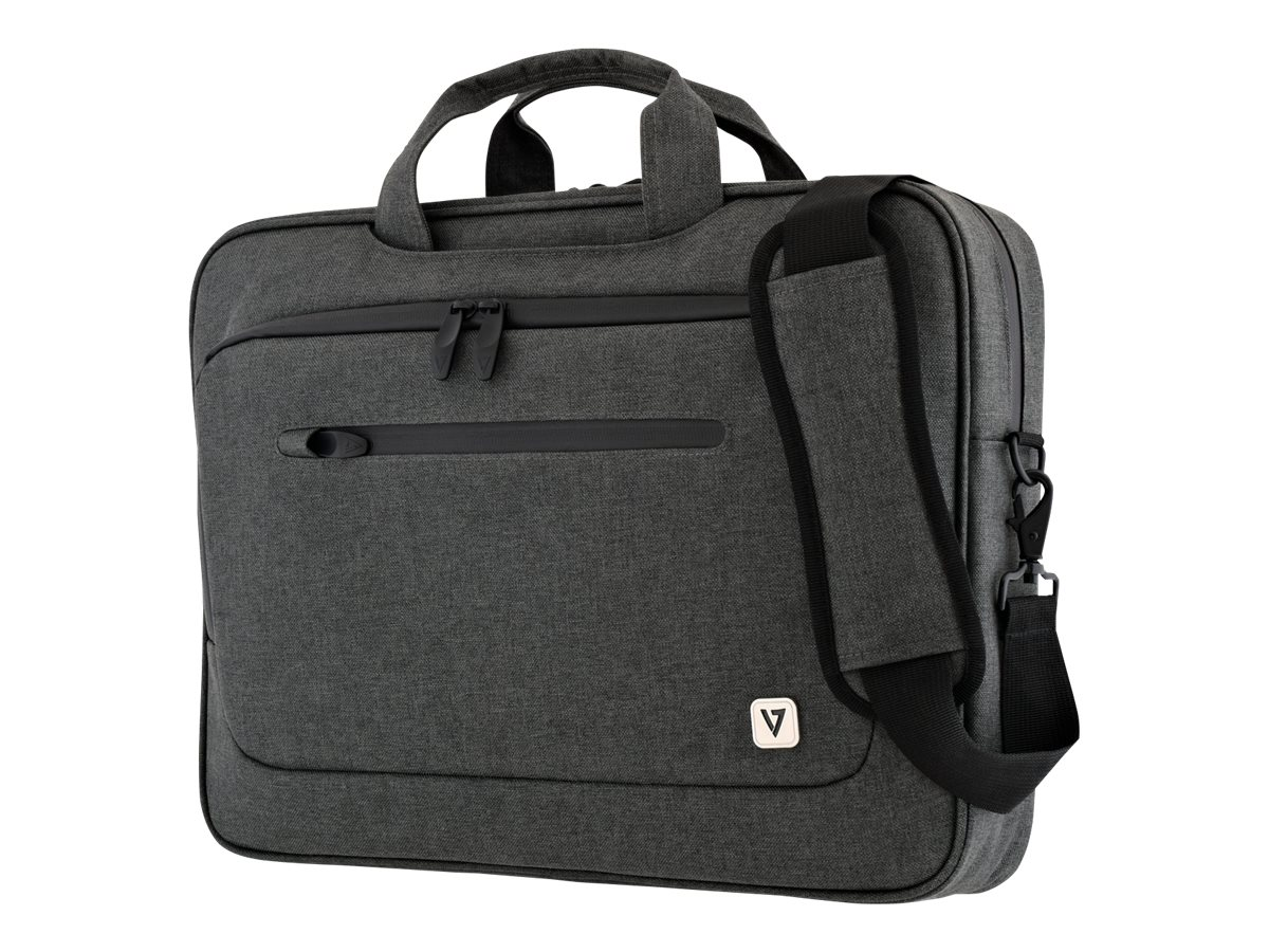 V7 Slim Briefcase for Laptop 15.4 15.6, Trolley Strap, CTPX1-1NC