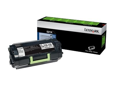 Lexmark Black 521X Extra High Yield Return Program Toner Cartridge, 52D1X00