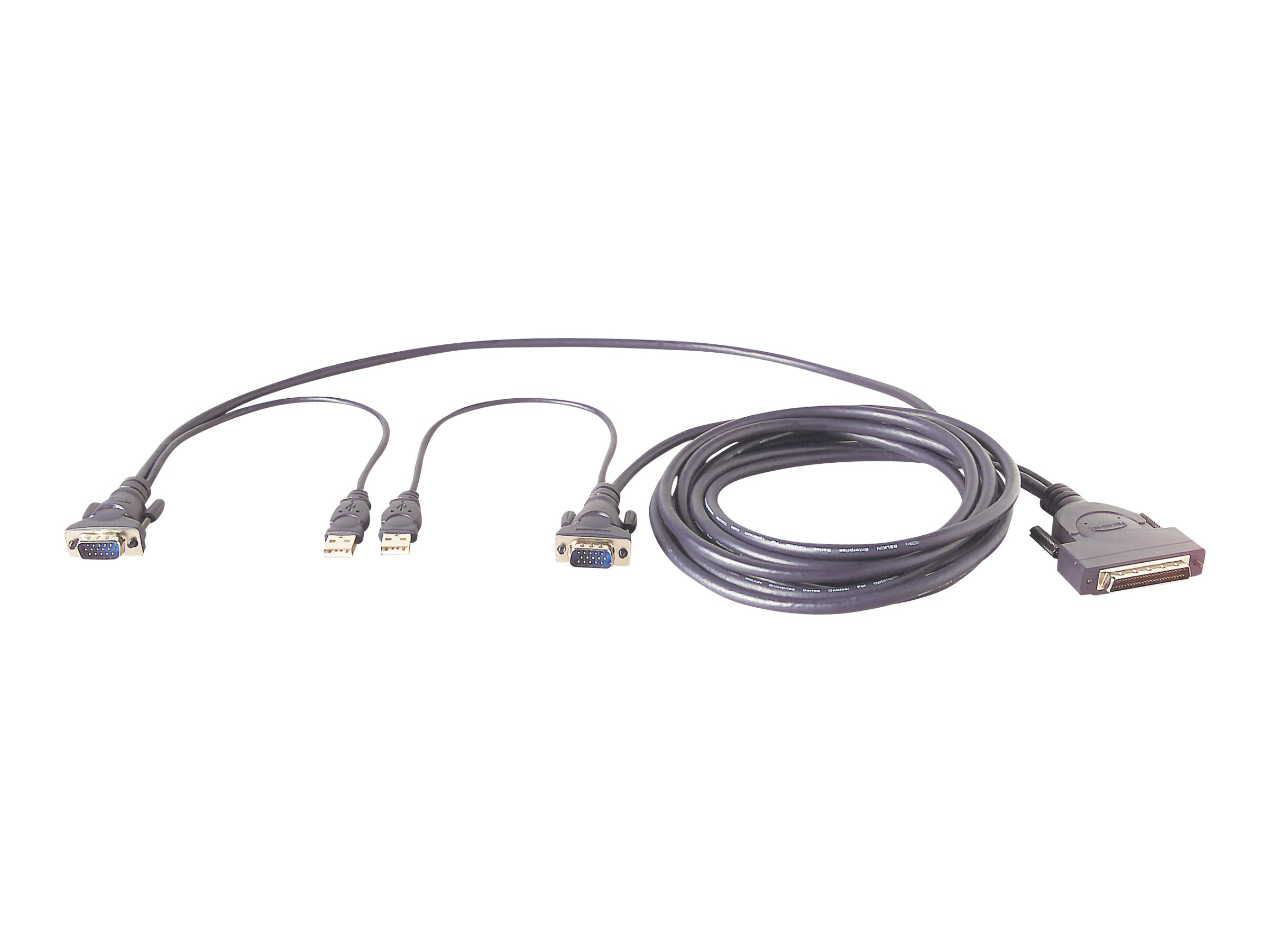 Belkin OmniView Enterprise Series Dual-Port USB KVM Cable, 12ft (Bulk Packaging), F1D9401-12, 364655, Cables