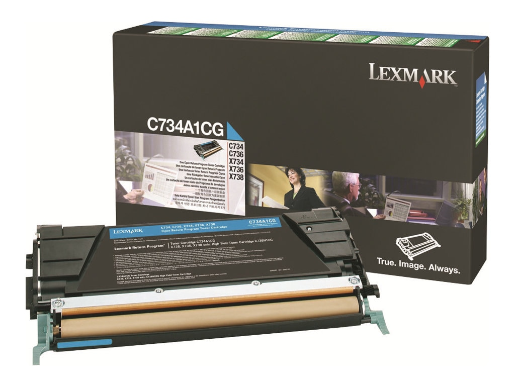 Lexmark Cyan Return Program Toner Cartridge for C734, C736, X734, X736 & X738 Series, C734A1CG
