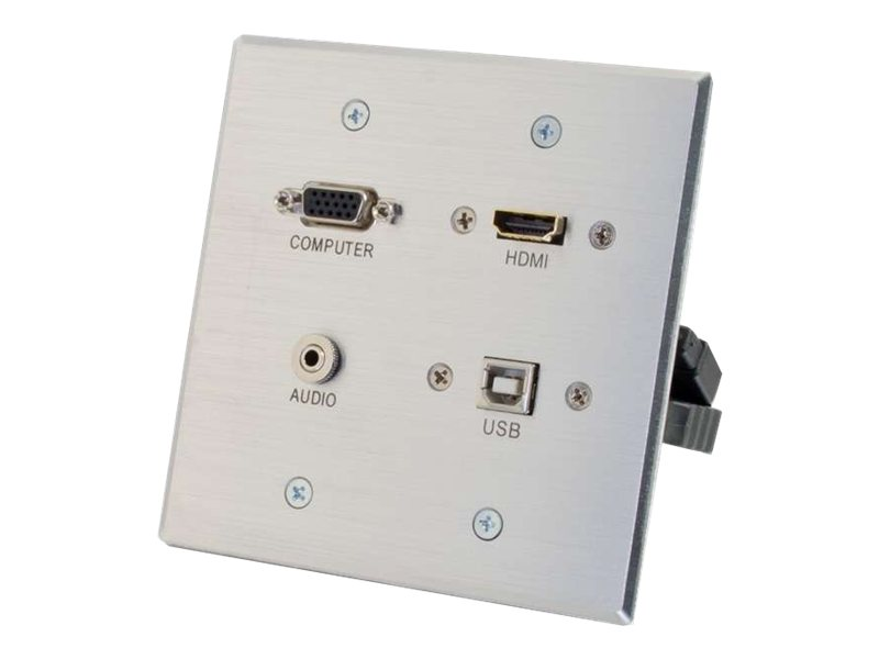 C2G HDMI, VGA, 3.5mm and USB Pass-through Wall Plate, Aluminum