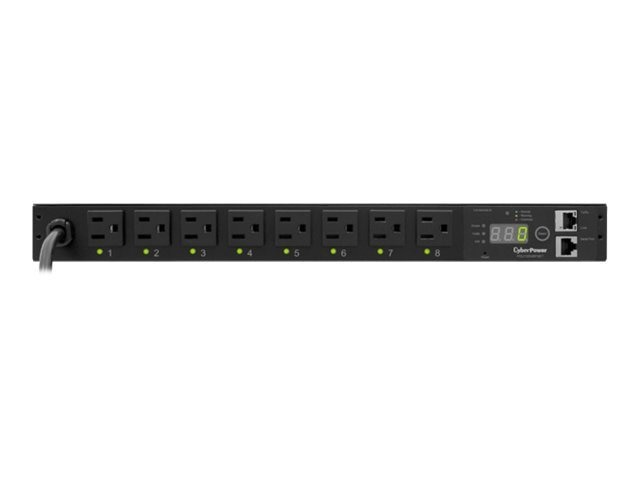 CyberPower Switched PDU 120V 15A 1U RM Digital Display SNMP 5-15P 12ft Cord, PDU15SW8FNET