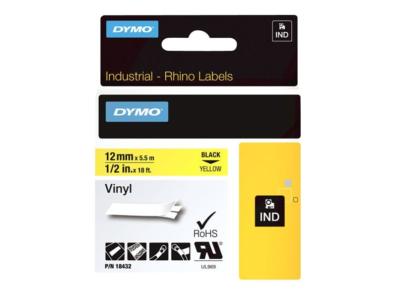 DYMO .5 x 18'  Yellow Vinyl Labels for the Rhino 5000, 3000, and 1000 Label Printers, 18432, 7874173, Paper, Labels & Other Print Media
