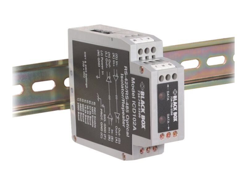 Black Box DIN Rail Repeaters with Opto-isolation