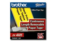 Brother 2 3 7 x 100' DK4605 Black on Yellow Continuous Length Label Paper Tape (1 Tape), DK4605, 6632391, Paper, Labels & Other Print Media
