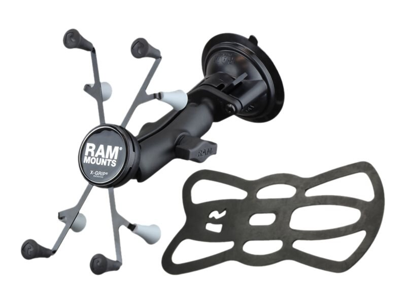 Ram Mounts Twist Lock Suction Cup Mount with Universal X-Grip Cradle with 1 Ball for 7 Tablets, Black