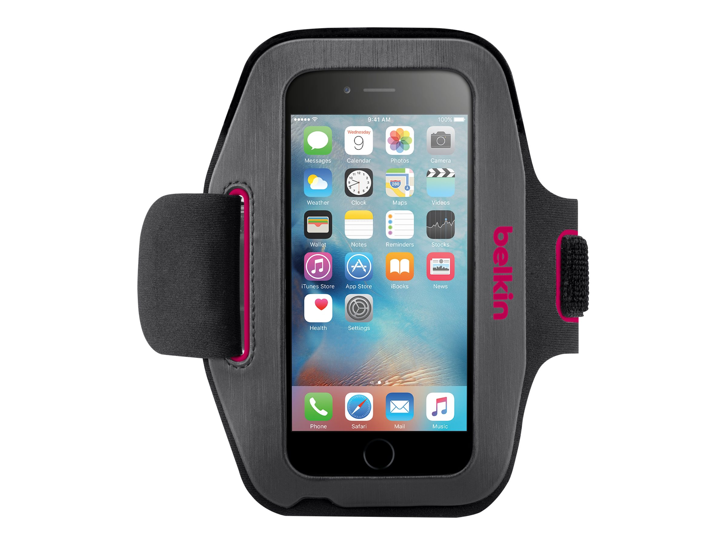 Belkin Sport-Fit Armband for iPhone 6, Gravel Fuchsia, F8W500-C01, 18815953, Carrying Cases - Phones/PDAs