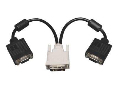 Tripp Lite Video Splitter Cable, DVI-A (M) to 2 VGA (F), Black, 1ft, P120-001-2, 8618180, Cables