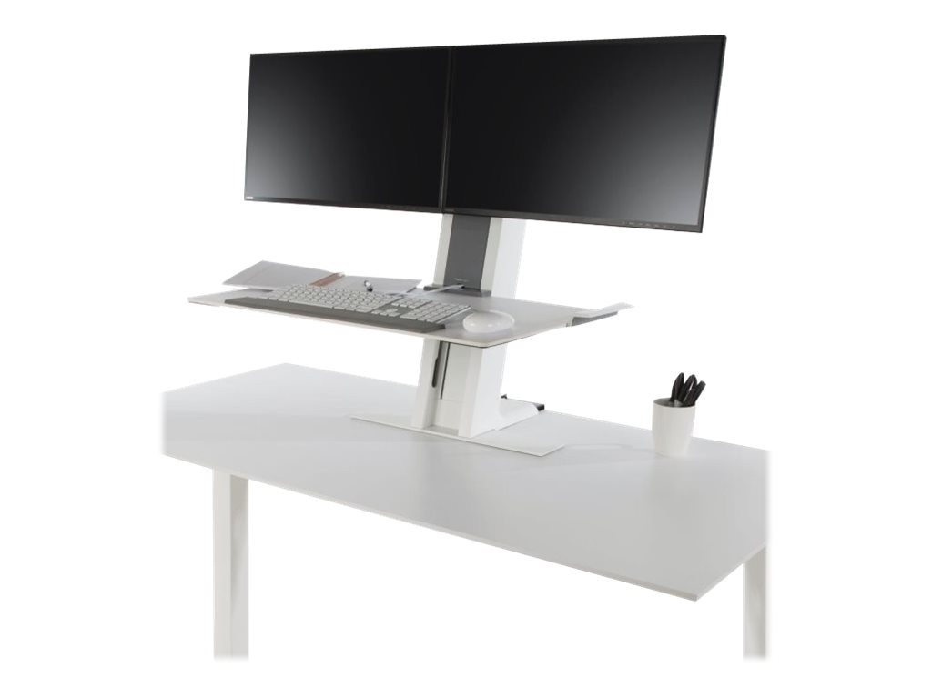 Humanscale QuickStand Heavy Dual Workstation with Large Platform, White, QSWC30, 19210606, Stands & Mounts - AV