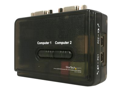 StarTech.com 2-Port Mini USB KVM Kit with Cables and Audio Switching, SV211KUSB