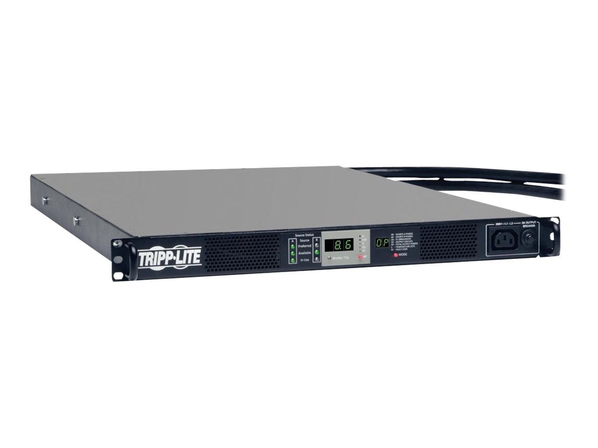Tripp Lite PDU 3-Phase Monitored ATS 8.6kW 208V 1U RM (2) L15-30P, 10ft Cords, PDU330AT6L15, 28184542, Power Distribution Units