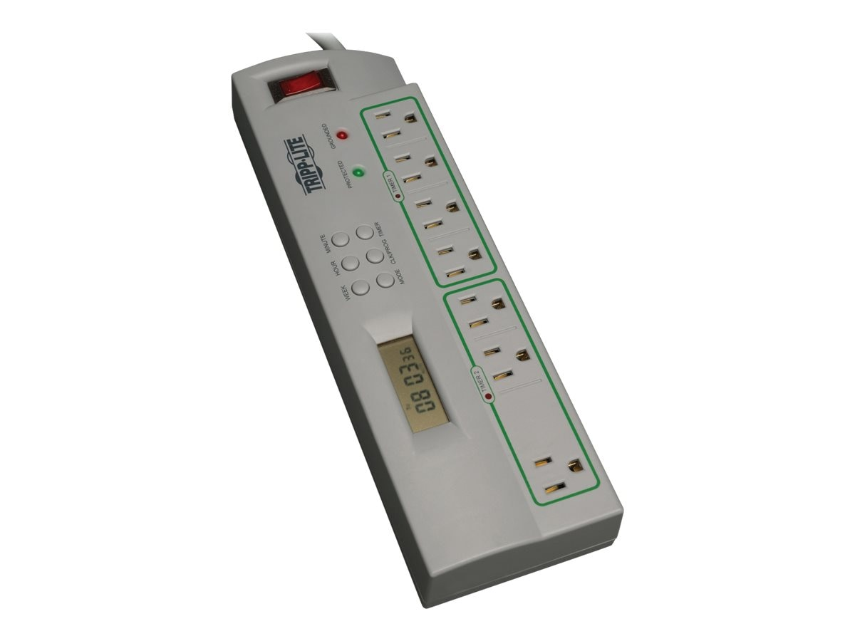 Tripp Lite ECO-SURGE Home Business Theater Surge Suppressor, (7) Outlets, 4ft Cord, 1400 Joules, Timer Control, TLP74TG