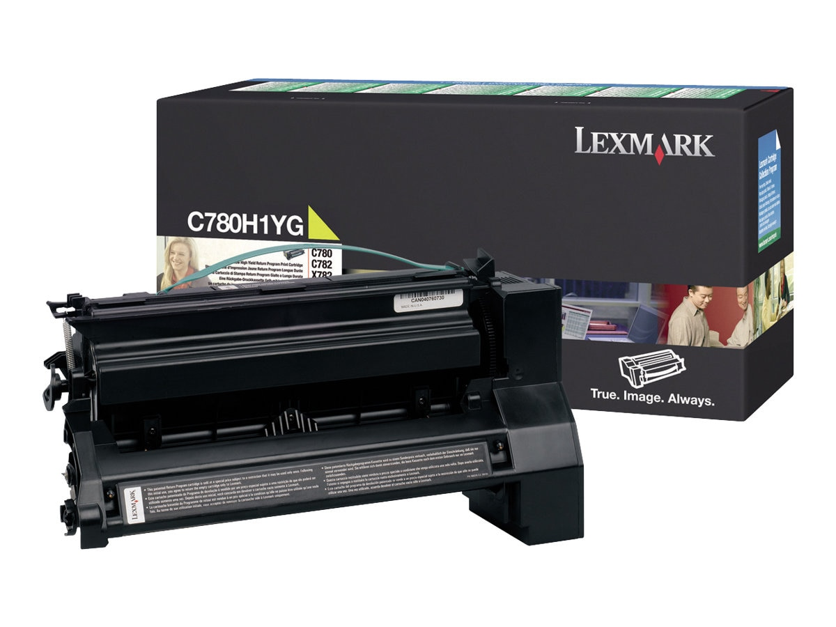 Lexmark Yellow High Yield Return Program Toner Cartridge for C780, C782 &  X782e MFP Series Printers, C780H1YG, 7644327, Toner and Imaging Components