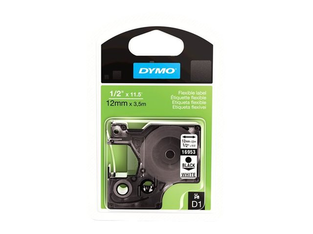 DYMO 1 2 (12mm) x 23' Black Print  White Fabric (for flagging cables) D1 Tape 11.5', 16953, 4816234, Paper, Labels & Other Print Media