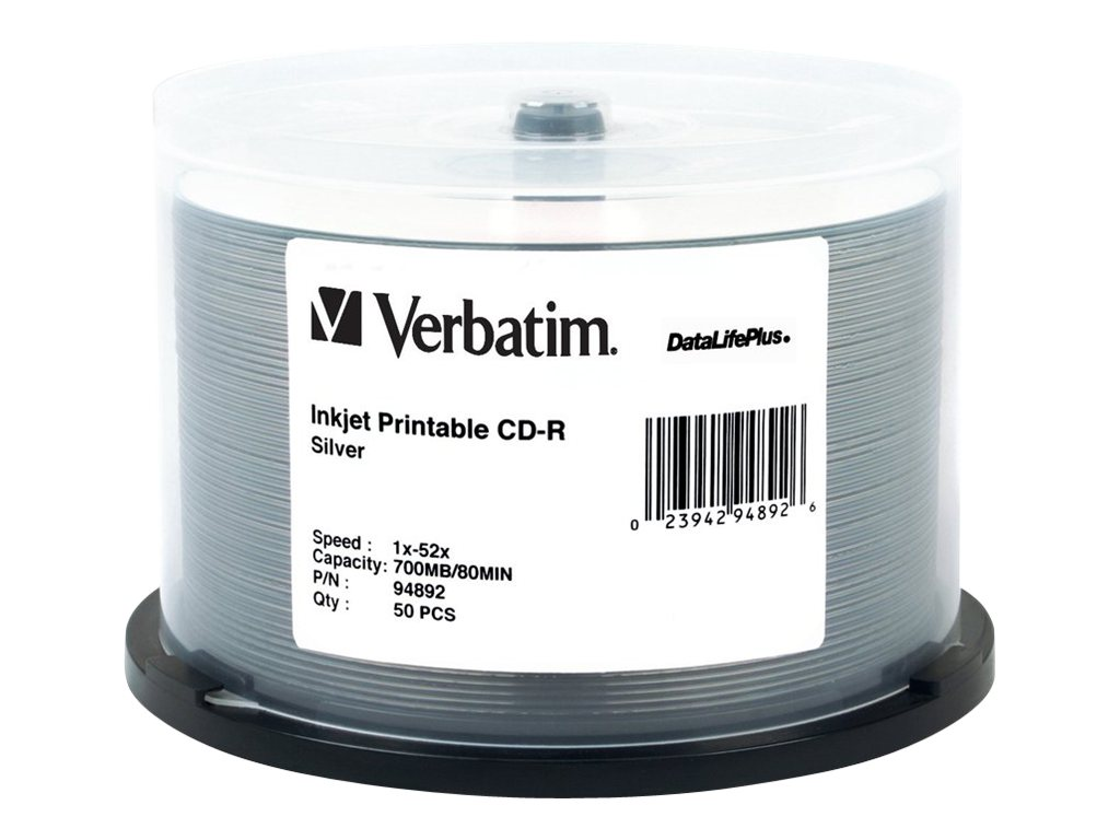 Verbatim CD-R 52X, 700MB, 80min, Silver Inkjet Printable, 50-pack Spindle, 94892, 5206016, CD Media