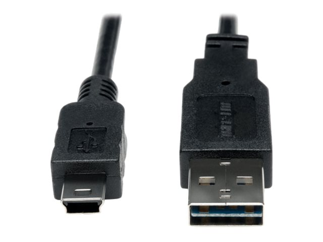 Tripp Lite USB2.0 Universal   Reversible A to Mini-B Gold Device Cable, 6ft, UR030-006, 16176166, Cables