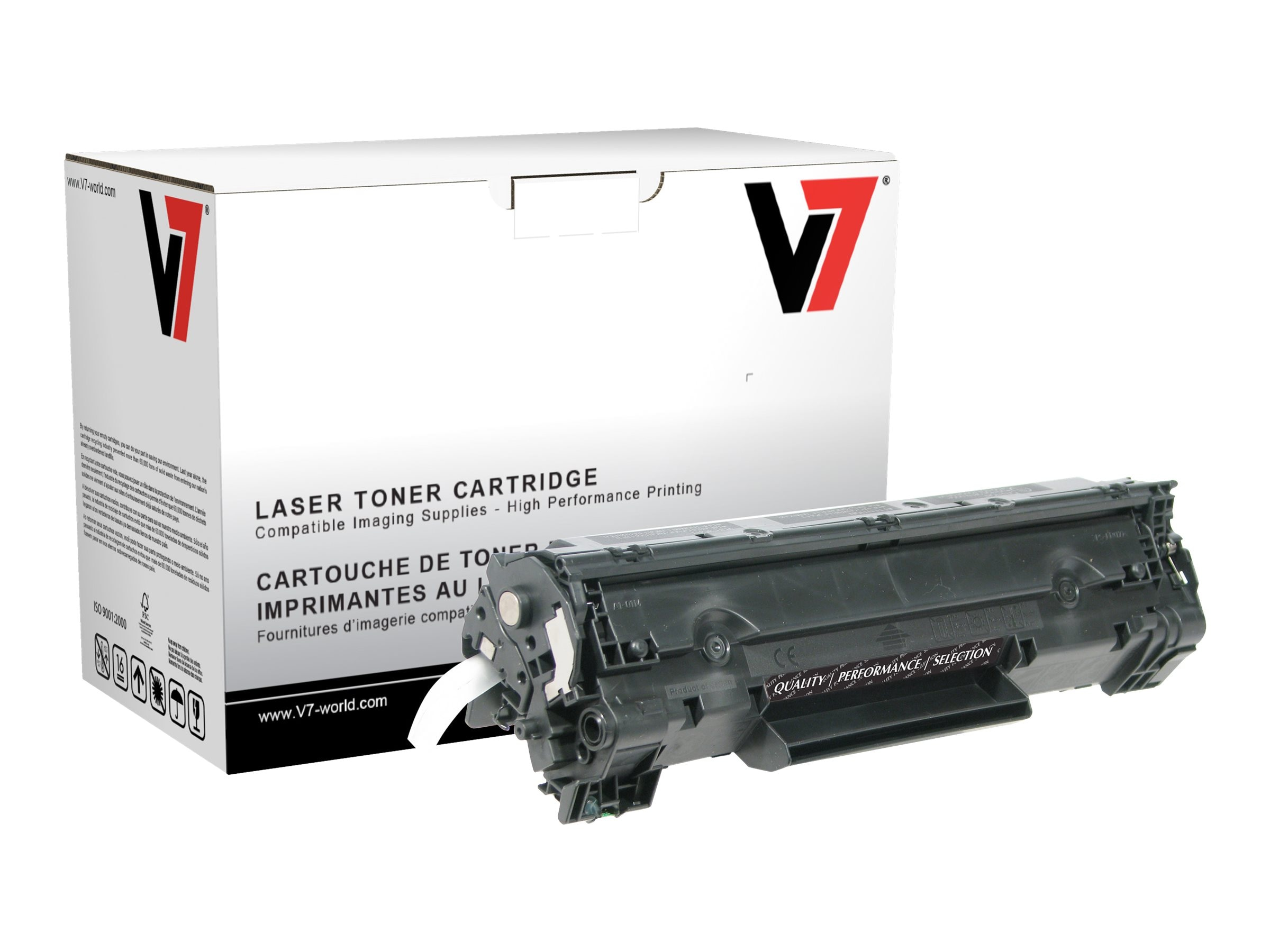 V7 CB436A Black Ultra High Yield Toner Cartridge for HP LaserJet P1505 (TAA Compliant), THK2436AJH