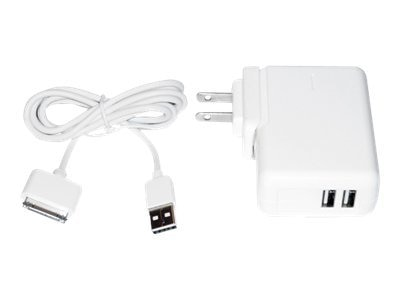 Premiertek Dual USB AC Charger Sync Cable 30-Pin 2100mA for Apple iPod iPhone iPad, PT-2ACDA