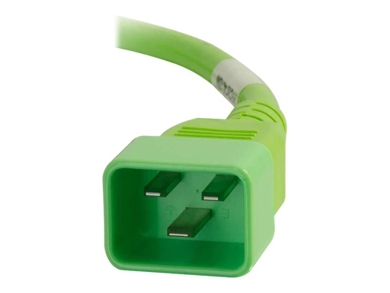 C2G Power Cord C20 to C19 12 3 SJT, Green, 10ft