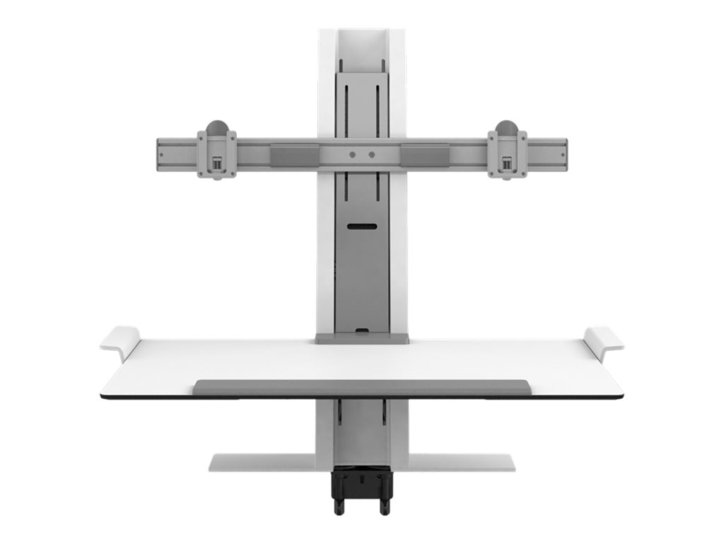 Humanscale QuickStand with Dual Monitor Support and Clamp Mount, White, QSWW30CPD