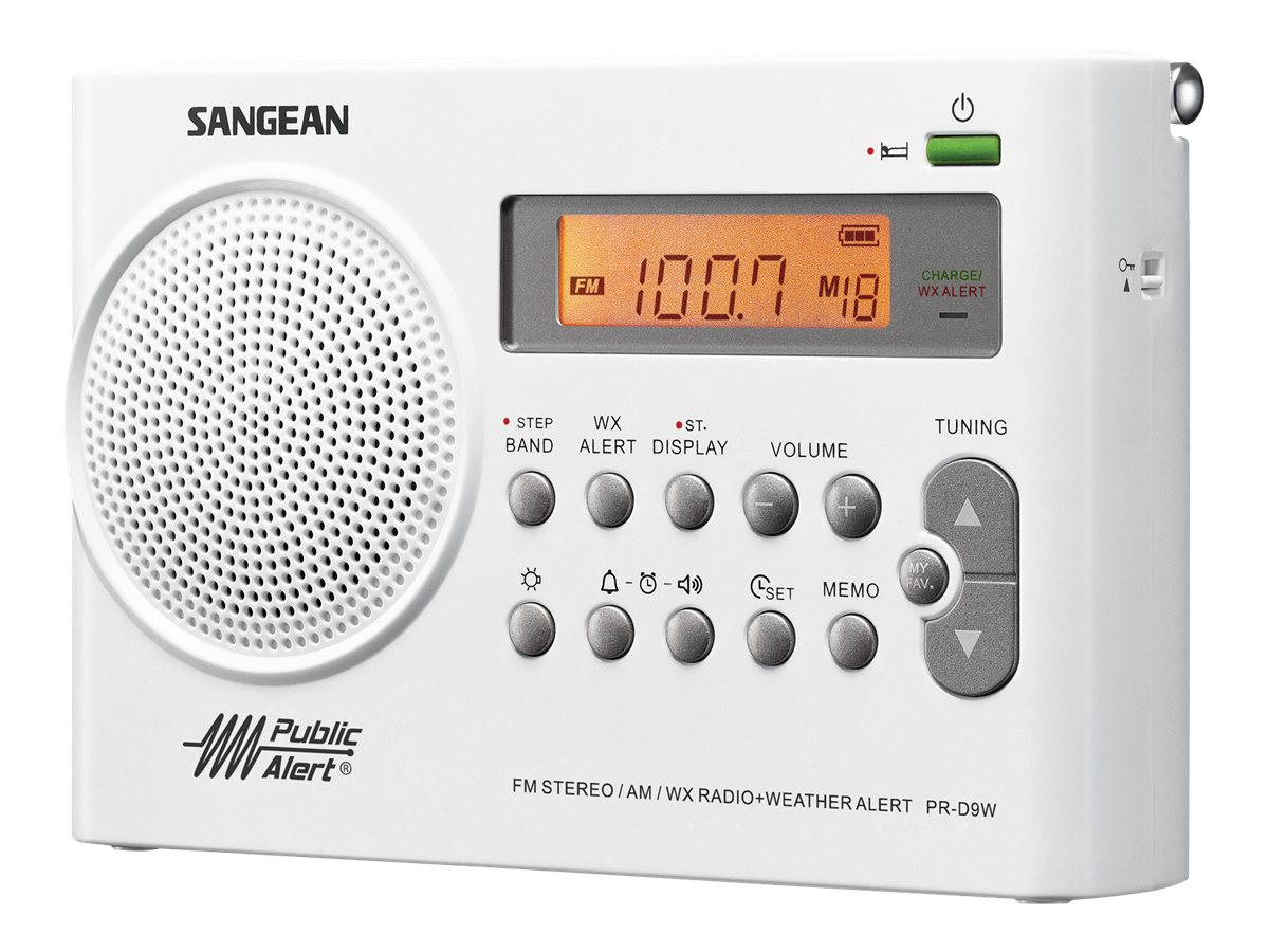 Sangean AM FM Digital Radio with Weather Band, PR-D9W, 11820143, Portable Stereos