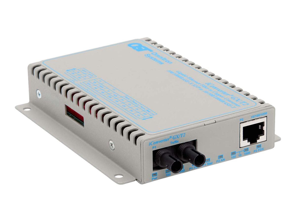 Omnitron iConverter 10 100 1000 Gigabit Fiber ST SM 12KM Universal Power Wide Temp, 8521N-1-EW, 18046357, Network Transceivers