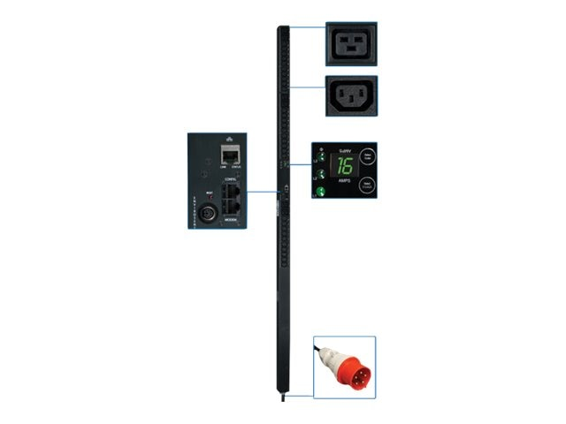 Tripp Lite Monitored PDU, 380 400V Input 220 230V 11kW 3-Ph, 0U, IEC-309 16A Red, (30) C13,  (6) C19, 3ft Cord