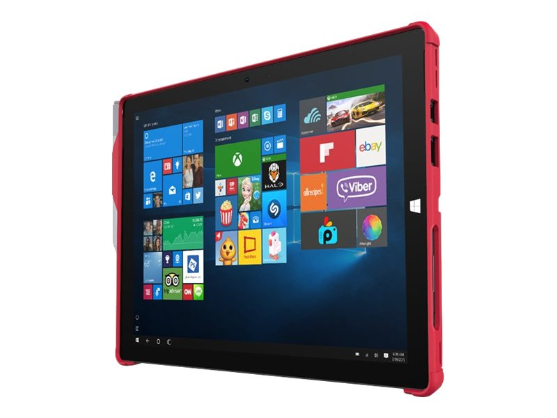 Incipio Feather [Hybrid] Co-Molded Rugged Case w  Shock Absorbing Frame for Microsoft Surface Pro 4, Red, MRSF-092-RED