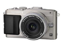 Olympus E-PL5 with Silver 14-42mm Lens - Silver, V205041SU000, 16212358, Cameras - Digital - Point & Shoot