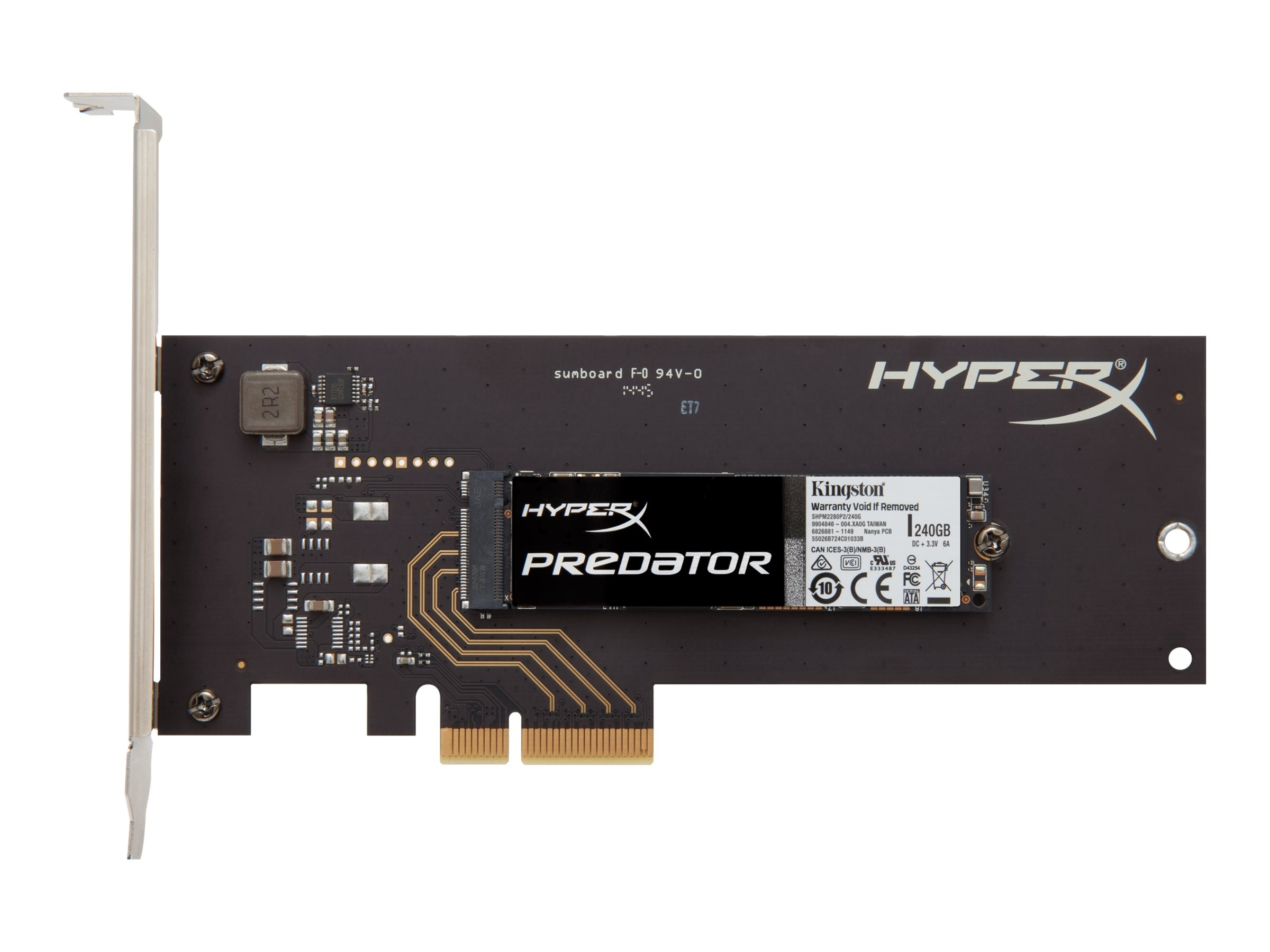 Kingston 240GB HyperX Predator PCIe Gen2 X4 HHHL Internal Solid State Drive, SHPM2280P2H/240G, 19213313, Solid State Drives - Internal