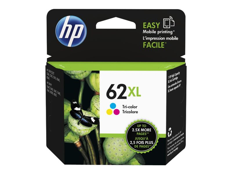 HP 62XL (C2P07AN) High Yield Tri-Color Original Ink Cartridge, C2P07AN#140, 17463001, Ink Cartridges & Ink Refill Kits