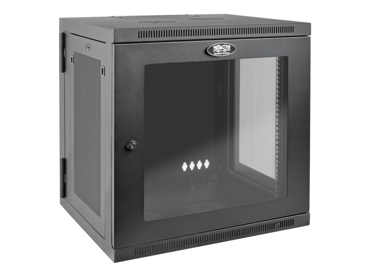 Tripp Lite SmartRack 12U UPS-Depth Wall-Mount Rack Enclosure Cabinet with Clear Acrylic Window, Hinged Back