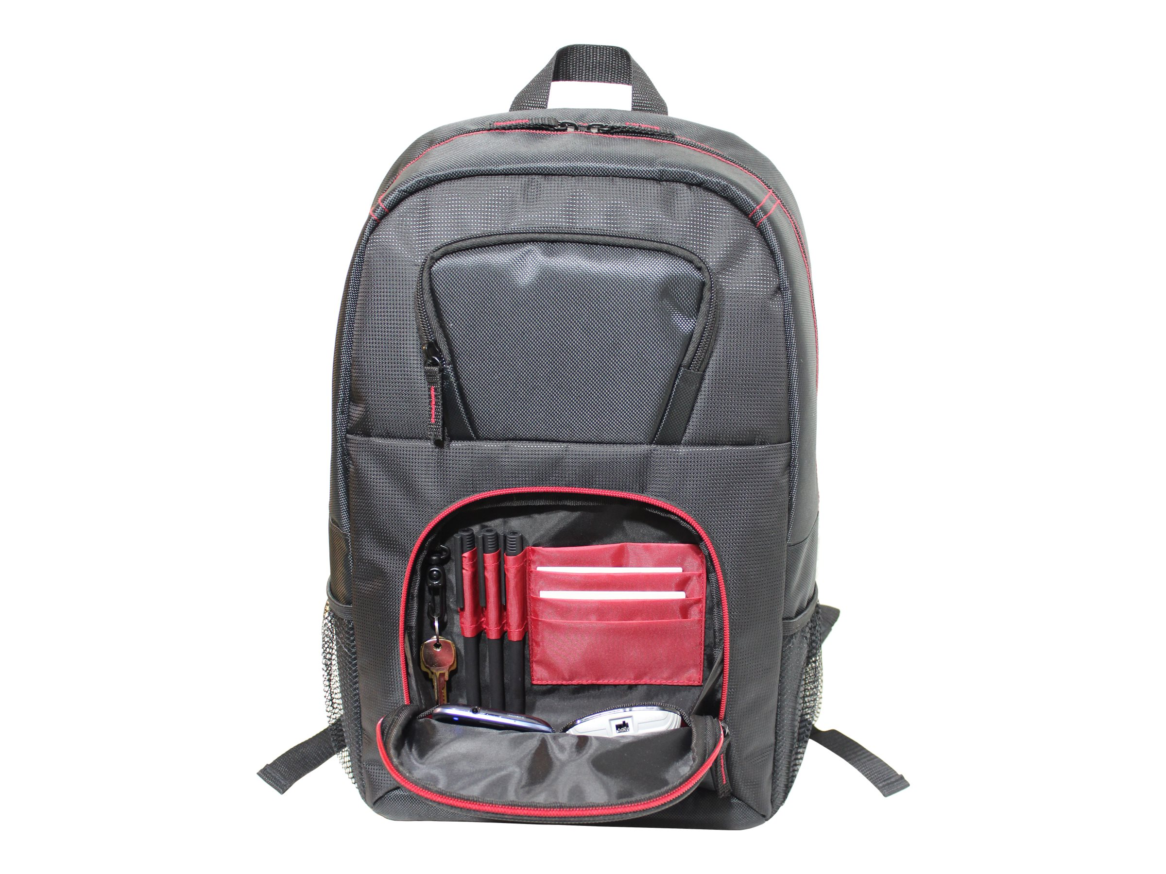 V7 Vantage 2 Backpack for 16.1 Laptop, Black w  Red Trim
