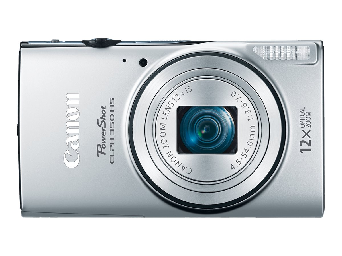 Canon PowerShot ELPH 350 HS, 20.2MP, 12x Zoom, Silver, 0158C001, 23202692, Cameras - Digital - Point & Shoot