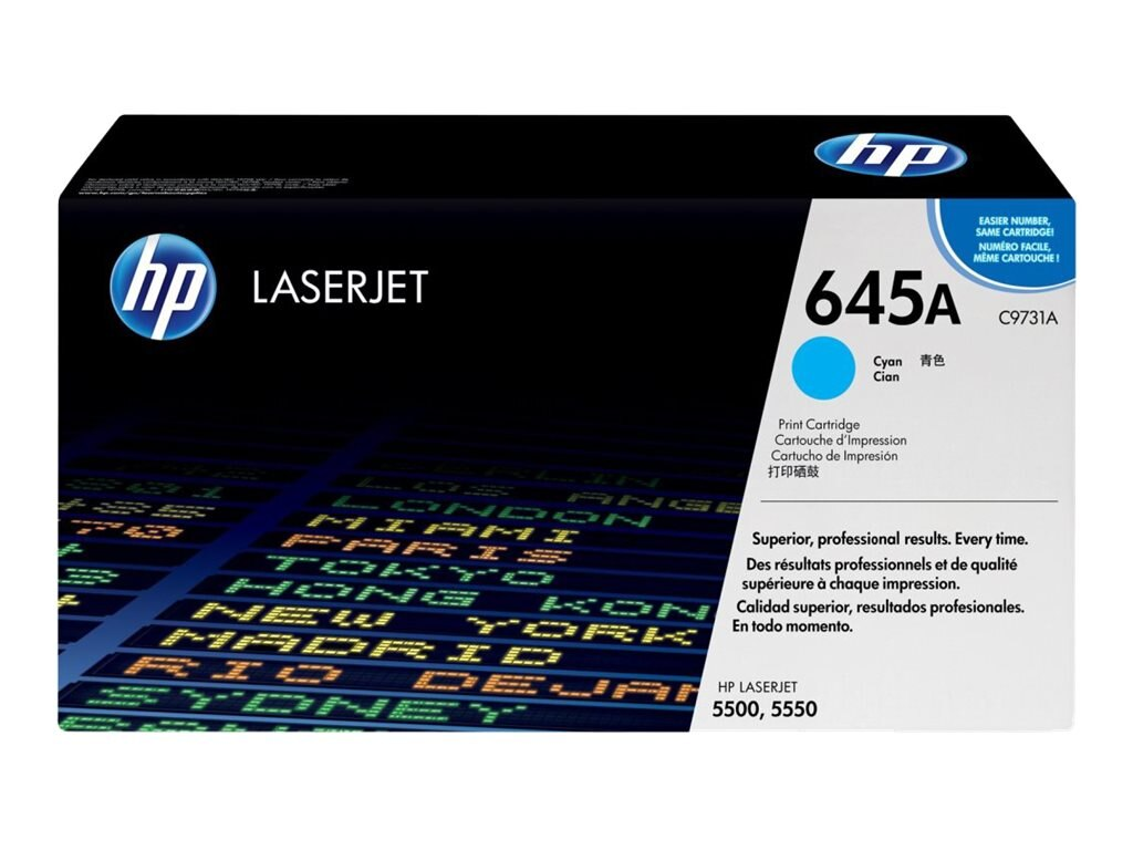 HP 645A (C9731A) Cyan Original LaserJet Toner Cartridge for HP Color LaserJet 5500 Printers, C9731A, 403945, Toner and Imaging Components