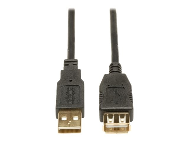 Tripp Lite USB 2.0 Gold Extension Cable, Double Shielded, USB Type A (M-F), 3ft, U024-003, 15272375, Cables