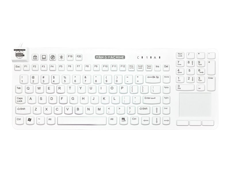 Man & Machine Reallycool Touch Backlight Keyboard, White, RCTLP/BKL/W5-LT