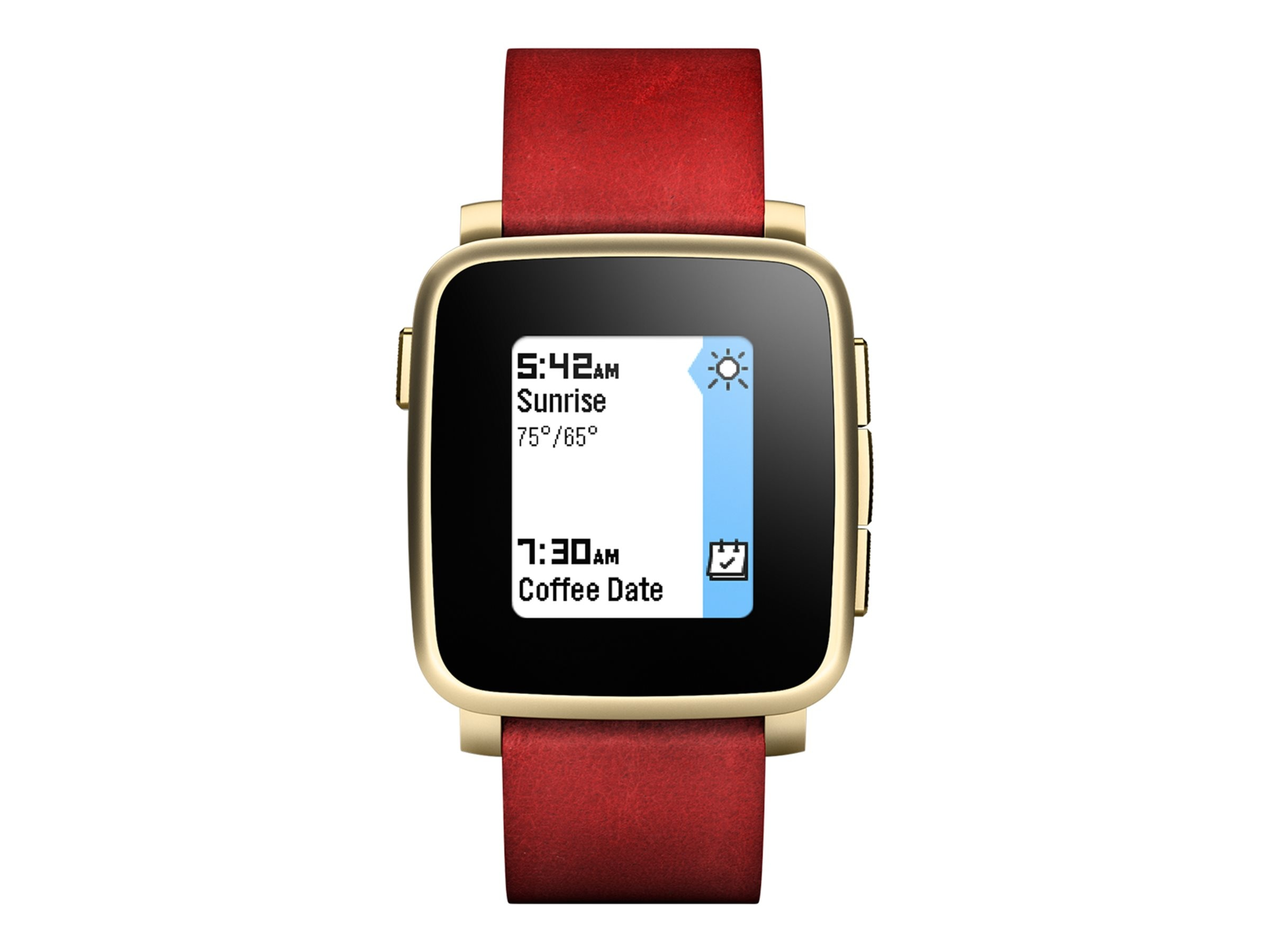 Pebble Time Steel Smartwatch, Gold with Metal Band, 511-00036