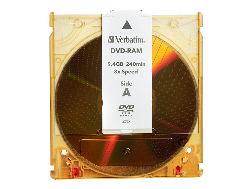 Verbatim 3x 9.4GB Double Sided Type 4 Branbded Surface DVD-RAM Disc w  Cartridge, 95003, 5712681, DVD Media