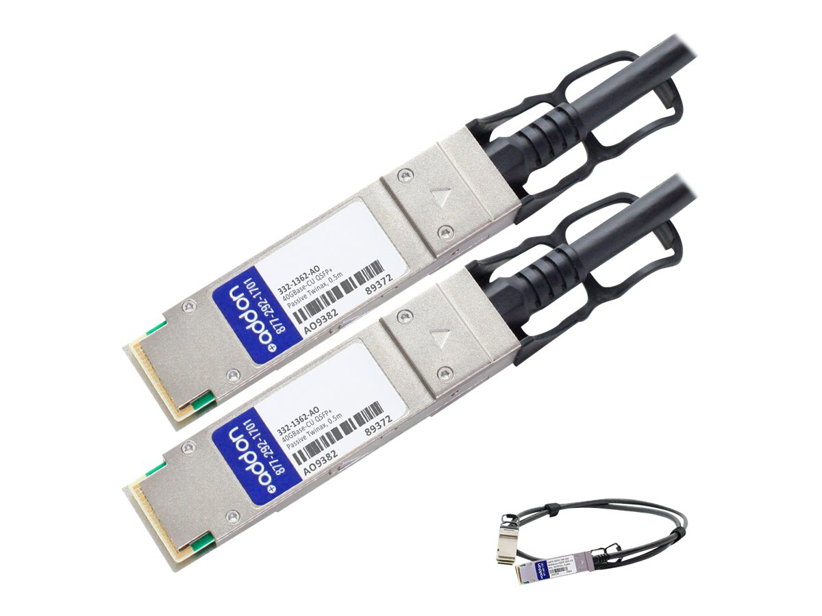 ACP-EP Dell Compatible 40GBase-CU QSFP+ to QSFP+ Passive Twinax Direct Attach Cable, 0.5m, 332-1362-AO