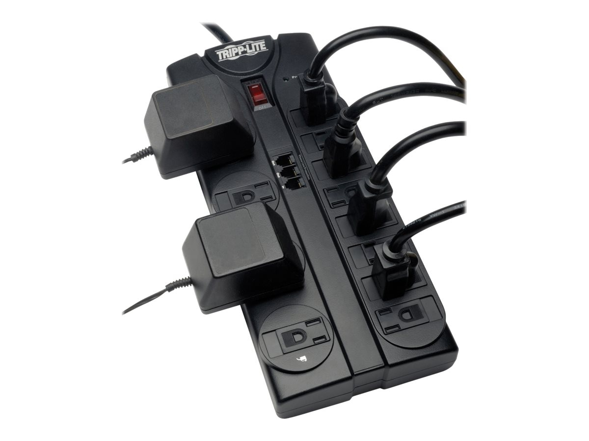 Tripp Lite Protect It! Surge Protector 2160 Joules (12) Outlets 8ft Cord Telephone, TLP1208TEL