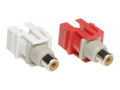 Tripp Lite 2-Piece RCA F F Audio Keystone Snap-in Module Kit for Wall Plates, Red, White, A050-000-KJ, 14510212, Premise Wiring Equipment