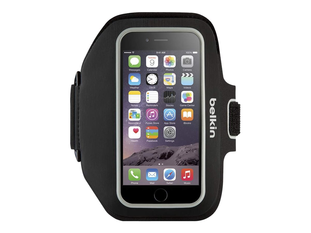 Belkin Sport-Fit Plus Armband for iPhone 6, Blacktop Overcast, F8W501BTC00, 18815890, Carrying Cases - Phones/PDAs
